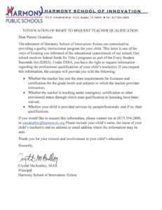 Notification of Rights to Parents to Request Teacher Qualifications